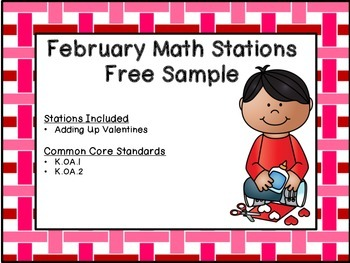 February Kindergarten Math Station Sampler