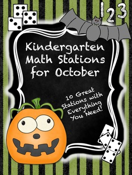 Kindergarten Math Stations for October with Bonus October Calendar Pieces