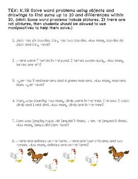 Kindergarten Math Story Problems
