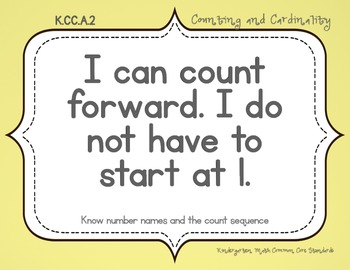 "Kindergarten Math ""Student Friendly"" Common Core Standard Posters"