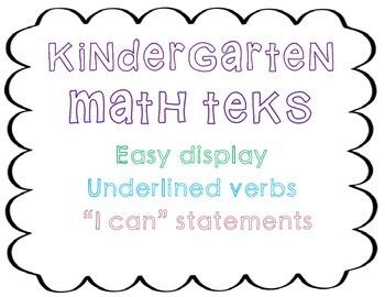Kindergarten Math TEKS