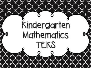 Kindergarten Math TEKS Black Quatrefoil Design