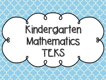 Kindergarten Math TEKS Bright Blue Quatrefoil Design