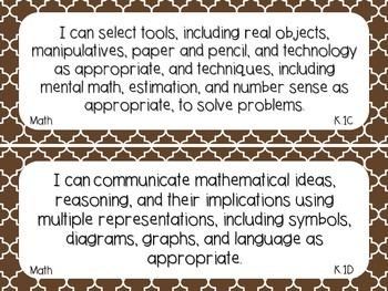 Kindergarten Math TEKS Brown Quatrefoil Design