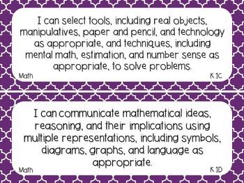 Kindergarten Math TEKS Dark Purple Quatrefoil Design