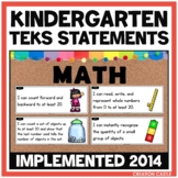 Kindergarten Math TEKS Can and Will Standards Statements