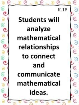 Kindergarten Math TEKS  Learning Objective Cards/ Posters (2 sets)