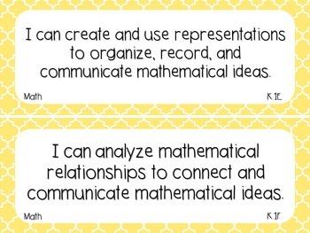 Kindergarten Math TEKS Light Yellow Quatrefoil Design