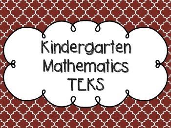 Kindergarten Math TEKS Maroon Quatrefoil Design