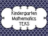 Kindergarten Math TEKS Navy Blue Quatrefoil Design