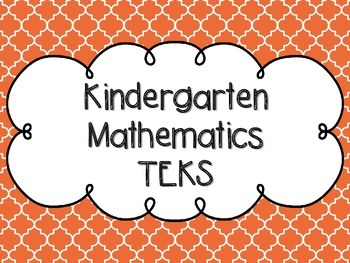 Kindergarten Math TEKS Orange Quatrefoil Design