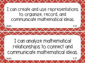 Kindergarten Math TEKS Red Quatrefoil Design