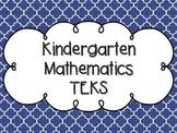 Kindergarten Math TEKS Royal Blue Quatrefoil Design