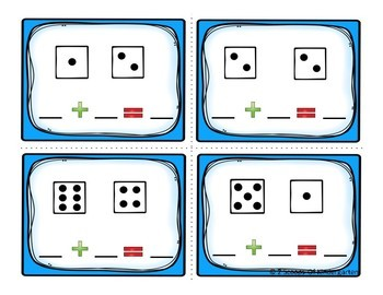 Kindergarten Math Task Cards ~ Addition (B&W and Color)