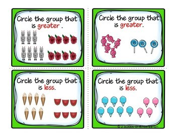 Kindergarten Math Task Cards ~ Counting & Cardinality (B&W and color)