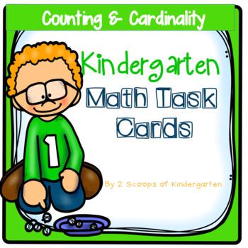 Kindergarten Math Task Cards ~ Counting & Cardinality (B&W