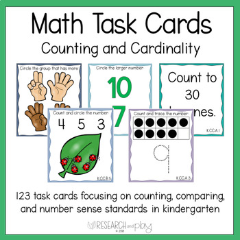 Kindergarten Math Task Cards Counting and Cardinality