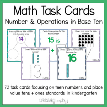 Kindergarten Math Task Cards Number and Operations in Base Ten