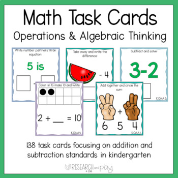Kindergarten Math Task Cards Operations and Algebraic Thinking