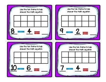 Kindergarten Math Task Cards ~ Subtraction (B&W and Color)