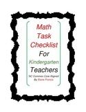 Kindergarten Math Task Checklist