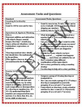 Kindergarten Math Tasks and Assessment Questions for ALL CCSS Standards