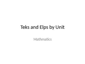 Kindergarten Math Teks and Elps First Six Weeks
