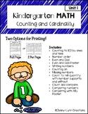 Kindergarten Math-Unit 1-Counting and Cardinality