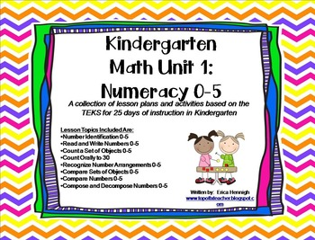 Kindergarten Math Unit 1:  Numeracy 0-5  TEKS Based Lessons and Activities