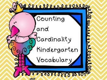 Kindergarten Math Counting Cardinality Vocabulary Words Co