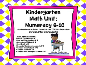 Kindergarten Math Unit:Numeracy 6-10 TEKS Lessons & Intervention Activities