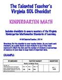 Kindergarten Math VA SOL Checklist