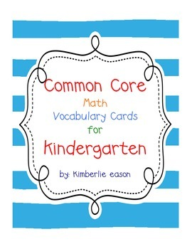 Kindergarten Math Vocabulary Cards (Striped Background)