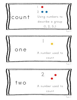 Kindergarten Common Core Math Vocabulary Cards - Topic 1 Numbers 0-5