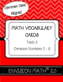 Kindergarten Common Core Math Vocabulary Cards - Topic 2 Compare Numbers 0-5