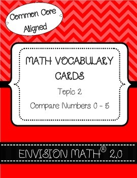 Kindergarten Common Core Math Vocabulary Cards - Topic 2 C