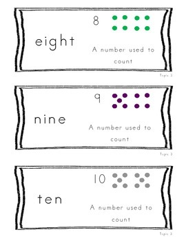 Kindergarten Common Core Math Vocabulary Cards - Topic 3 Numbers 6-10