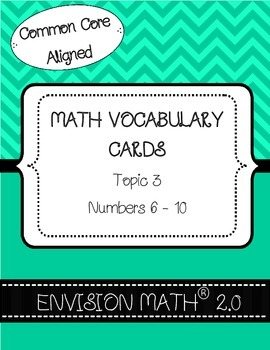 Kindergarten Common Core Math Vocabulary Cards - Topic 3 N