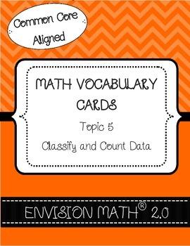 Kindergarten Common Core Math Vocabulary Cards - Topic 5 C