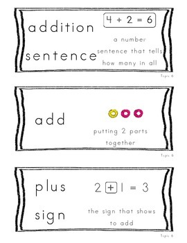 Kindergarten Common Core Math Vocabulary Cards - Topic 6 Understand Addition