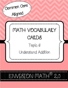 Kindergarten Common Core Math Vocabulary Cards - Topic 6 U