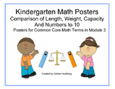 Kindergarten Math Vocabulary--Common Core--Module Length, Width, Capacity