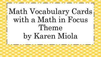 Kindergarten Math in Focus Vocabulary Word Wall Cards