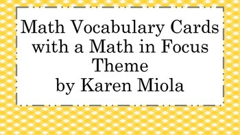 Kindergarten Math in Focus Vocabulary Word Wall Cards