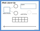 Kindergarten Math Warm-Up Page