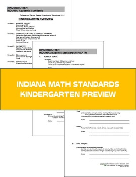 Kindergarten Math:  Weekly Word Problems and INDIANA Math Standards