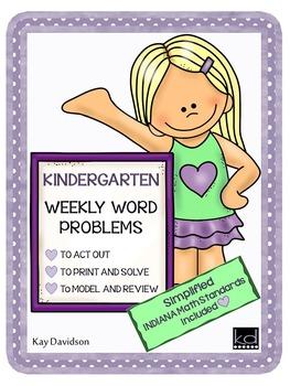 Kindergarten Math:  Weekly Word Problems and INDIANA Math