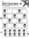 Kindergarten Math- What number comes Next Winter Cut and P