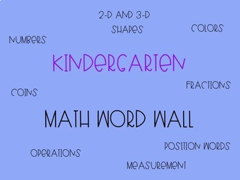 Kindergarten Math Word Wall - Editable