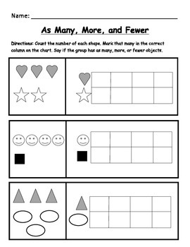 Kindergarten Math Worksheet: Identify as many, more, and fewer